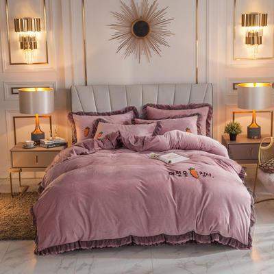 2019新款蕾丝韩版水晶绒四件套 1.5m床单款四件套 香芋紫