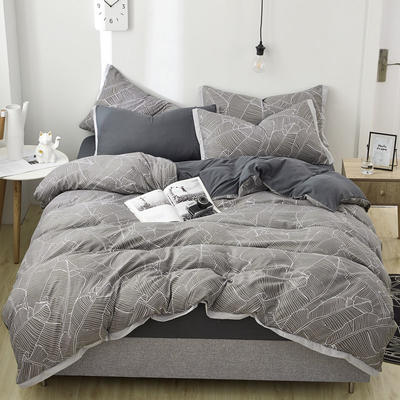 2019新款水洗棉印花系列四件套 1.0m(3.3英尺)床单款三件套 初见叶里-1