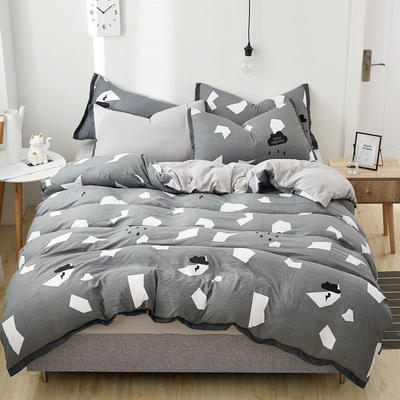 2019新款水洗棉印花系列四件套 1.0m(3.3英尺)床单款三件套 都市幻想