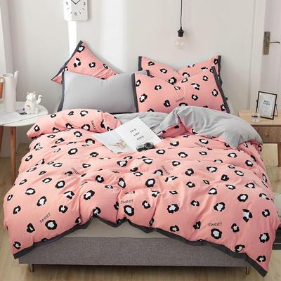 2019新款水洗棉印花系列四件套 1.0m(3.3英尺)床单款三件套 粉豹纹-1
