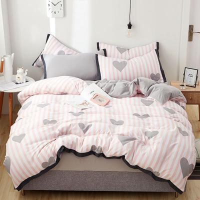 2019新款水洗棉印花系列四件套 1.0m(3.3英尺)床单款三件套 粉心符号(主推)