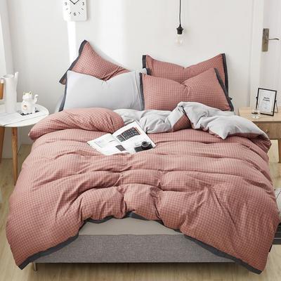 2019新款水洗棉印花系列四件套 1.0m(3.3英尺)床单款三件套 红豆沙格