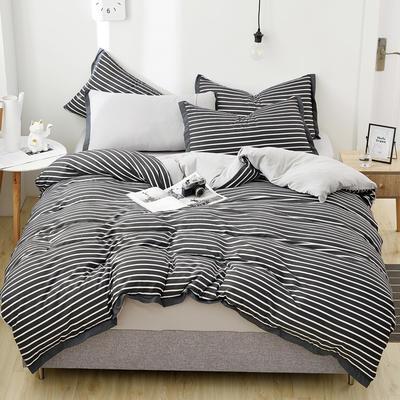 2019新款水洗棉印花系列四件套 2.0m(6.6英尺)床单款 简约灰条-1