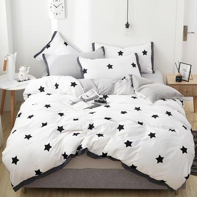 2019新款水洗棉印花系列四件套 1.0m(3.3英尺)床单款三件套 密密星星-1