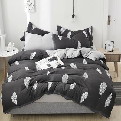 2019新款水洗棉印花系列四件套 1.0m(3.3英尺)床单款三件套 默默轻羽
