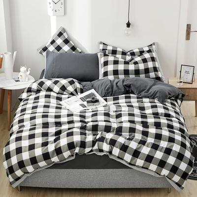 2019新款水洗棉印花系列四件套 1.0m(3.3英尺)床单款三件套 情诗黑格