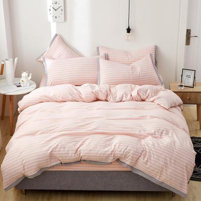 2019新款水洗棉印花系列四件套 1.0m(3.3英尺)床单款三件套 温柔粉条