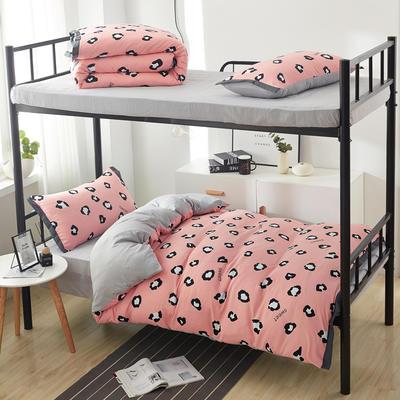 2019新款水洗棉印花系列-学生上下铺 1.0m(3.3英尺)床单款三件套 粉豹纹-