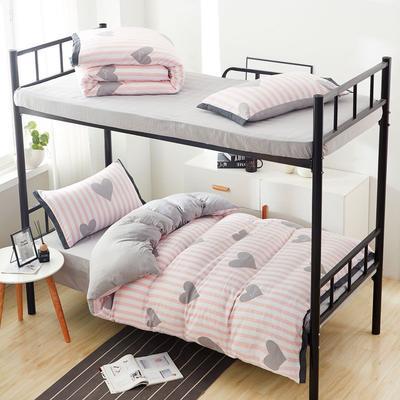 2019新款水洗棉印花系列-学生上下铺 1.0m(3.3英尺)床单款三件套 粉心符号-1