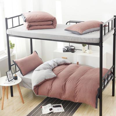 2019新款水洗棉印花系列-学生上下铺 1.0m(3.3英尺)床单款三件套 红豆沙格