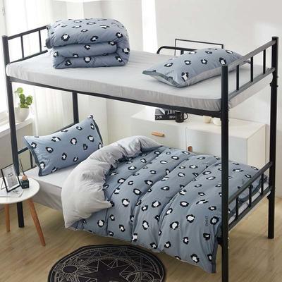 2019新款水洗棉印花系列-学生上下铺 1.0m(3.3英尺)床单款三件套 灰豹纹