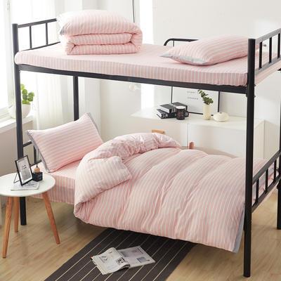 2019新款水洗棉印花系列-学生上下铺 1.0m(3.3英尺)床单款三件套 温柔粉条