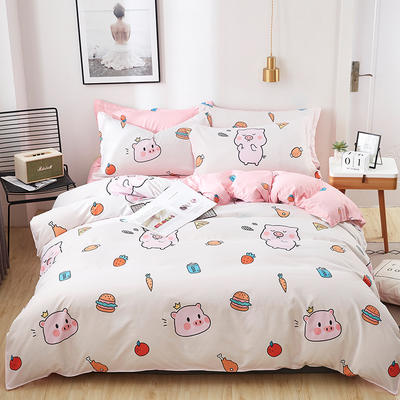 2019新款芦荟棉印花四件套 1.0m(3.3英尺)床单款三件套 可爱小猪-1