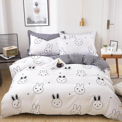 2019新款芦荟棉印花四件套 1.0m(3.3英尺)床单款三件套 兔宝宝