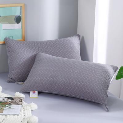 2019新款-立体单边绗绣枕头枕芯 灰色单边 42*72