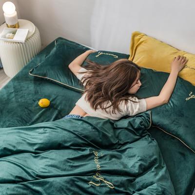 2019新款工艺款水晶绒保暖四件套 1.8m床单款 绒   抹茶绿