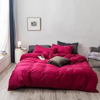 2019新款工艺款水晶绒保暖四件套 1.8m床单款 绒  律动红