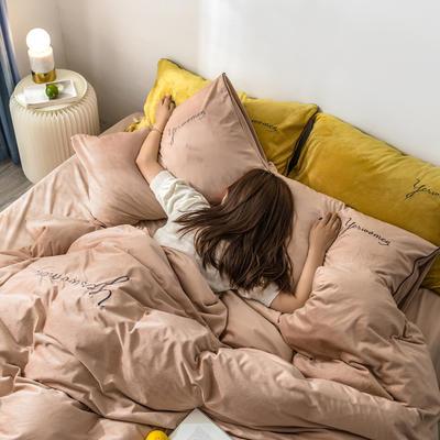 2019新款工艺款水晶绒保暖四件套 1.8m床单款 绒  年轮卡其