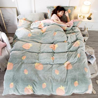 2019新款9D雪花绒四件套 1.5m床单款 可爱草莓-绿
