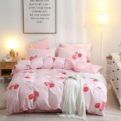 2019新款全棉加水晶绒四件套 1.5m床单款 草莓