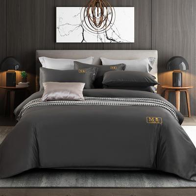 2020新款轻奢酒店风磨毛刺绣四件套 1.8m床单款四件套 艾庭-高级灰