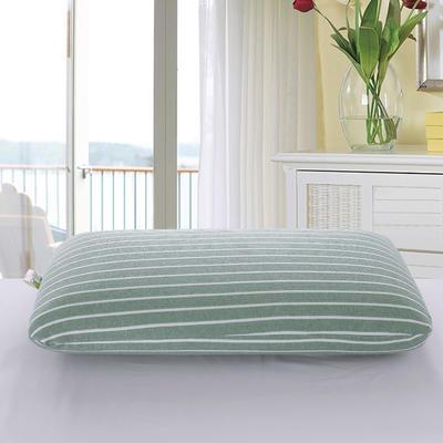 2019新款-竹節棉條紋乳膠枕(面包款) 綠條紋40*70*10/12