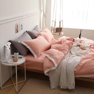 2019新款全棉拼角四件套 1.2m床单款 粉色