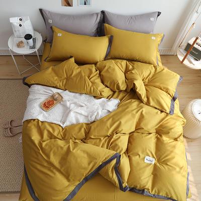2019新款全棉拼角四件套 1.2m床单款 黄色