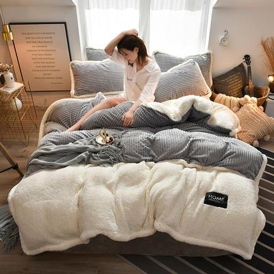 2019新款魔法绒羊羔绒双拼四件套 1.5m-1.8m床单款四件套 浅灰