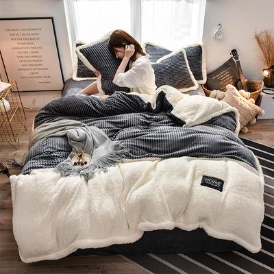 2019新款魔法绒羊羔绒双拼四件套 1.5m-1.8m床单款四件套 深灰