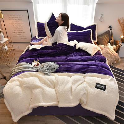 2019新款魔法绒羊羔绒双拼四件套 1.5m-1.8m床单款四件套 深紫色