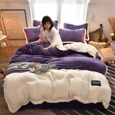 2019新款魔法绒羊羔绒双拼四件套 1.5m-1.8m床单款四件套 紫色