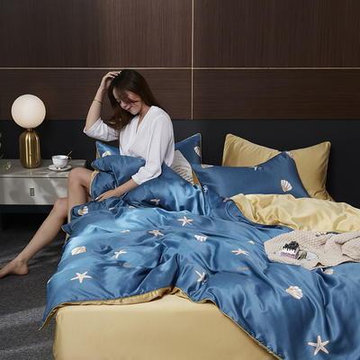 2020新款-水洗真丝四件套 床单款四件套1.5m(5英尺)床 莫地卡