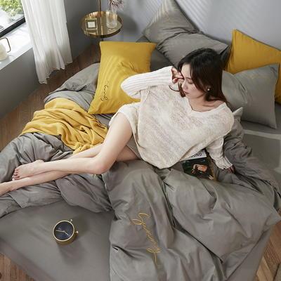 2020新款-全棉四件套 床单款三件套1.2m(4英尺)床 高级灰