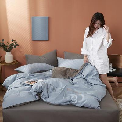 2020新款-全棉四件套 床单款三件套1.2m(4英尺)床 海青+高级灰