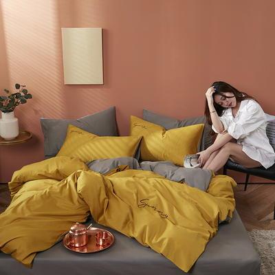 2020新款-全棉四件套 床单款四件套1.5m(5英尺)床 姜黄+绅士灰