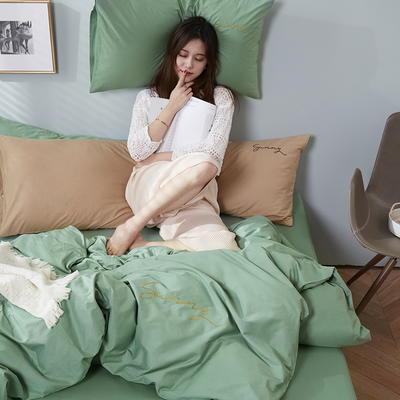 2020新款-全棉四件套 床单款四件套1.5m(5英尺)床 抹茶绿