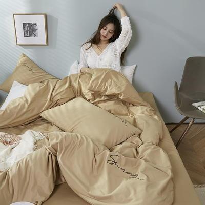 2020新款-全棉四件套 床单款四件套1.5m(5英尺)床 浅卡其