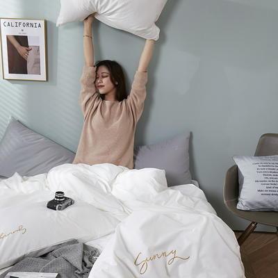 2020新款-全棉四件套 床单款三件套1.2m(4英尺)床 绅士白