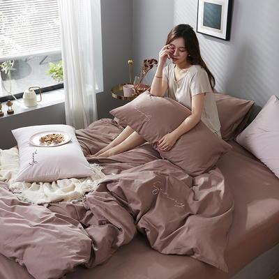 2020新款-全棉四件套 床单款四件套1.5m(5英尺)床 湘妃咖