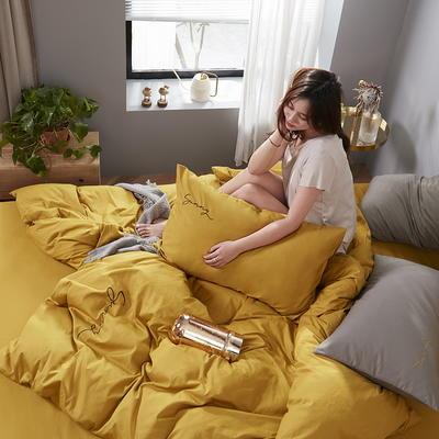 2020新款-全棉四件套 床单款四件套1.5m(5英尺)床 姜黄