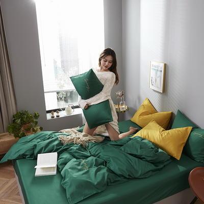 2020新款-全棉四件套 床单款四件套1.5m(5英尺)床 孔雀绿