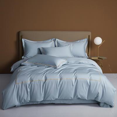 2021新款140支北欧绣花套件 艾格系列 1.8m床单款四件套 艾格-靛蓝