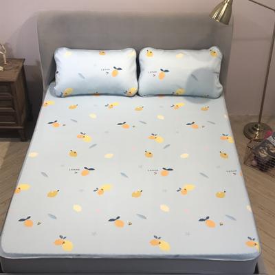 2020春夏新品冰丝席300g高密凉感丝凉席三件套床笠款(实拍图) 120*200cm床笠款二件套 柠檬茶