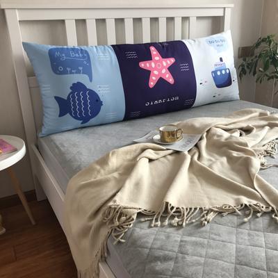 2020新款网红夏季冰丝大靠枕长枕床头靠垫大靠背可拆洗床上靠枕双人单人床头大靠垫 150cm*60cm 海洋风