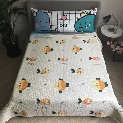 2020新款全棉卡通砂洗床盖 200cmx220cm 小鱼-黄