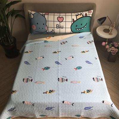 2020新款全棉卡通砂洗床盖 200cmx220cm 小鱼-蓝
