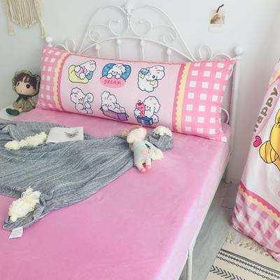 2020新款宝宝绒码印花卡通床靠背 150x60cm 奶油兔
