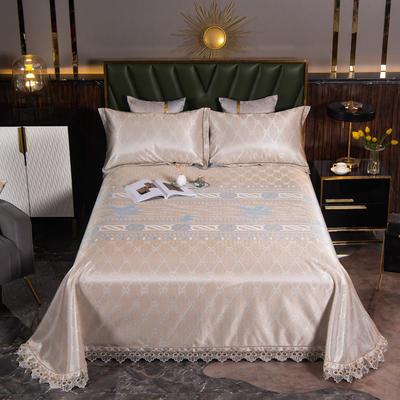 2021新款凉3°驱蚊刺绣花边床单席 245*250cm 哈尔斯特金