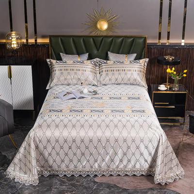 2021新款凉3°驱蚊刺绣花边床单席 245*250cm 哈尔斯特咖